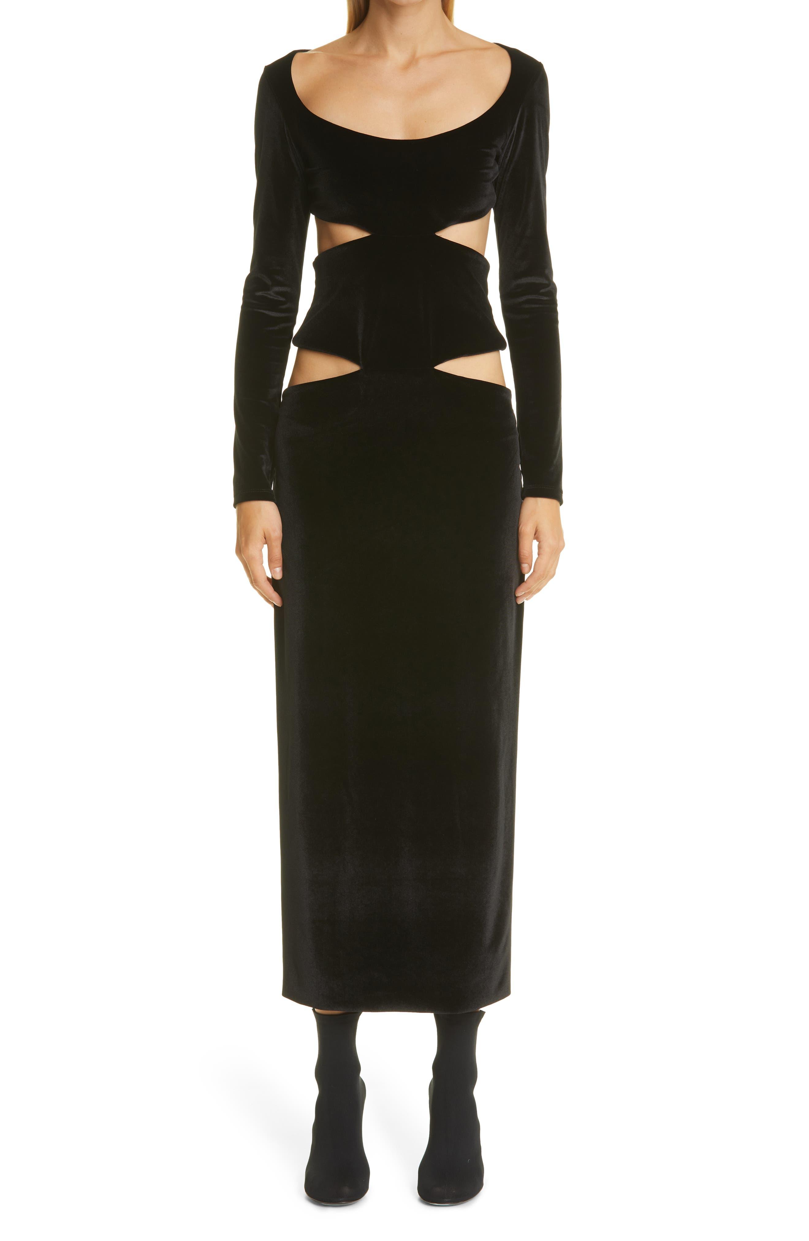 Kathryn Bowen Long Sleeve Cutout Velour Dress