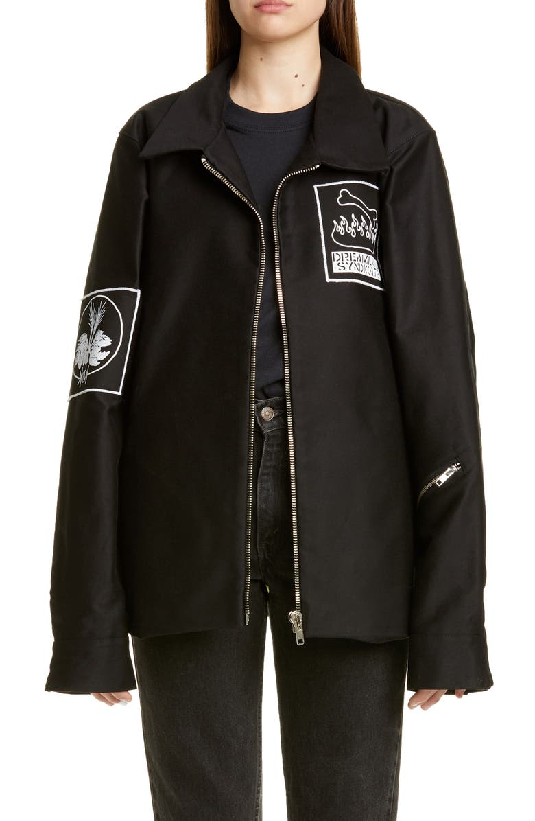 DREAMLAND SYNDICATE Graphic Patch Oversize Jacket, Main, color, 001