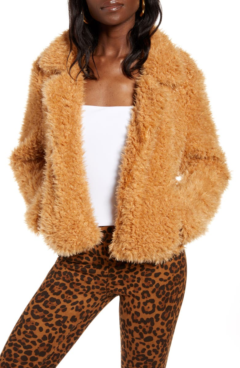 BLANKNYC Faux Fur Teddy Coat, Main, color, SAHARA