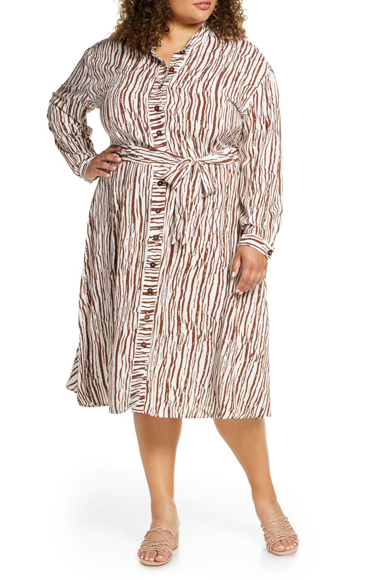 ELOQUII Opposting Stripes Long Sleeve Shirtdress, Main, color, TEXTURED STRIPE
