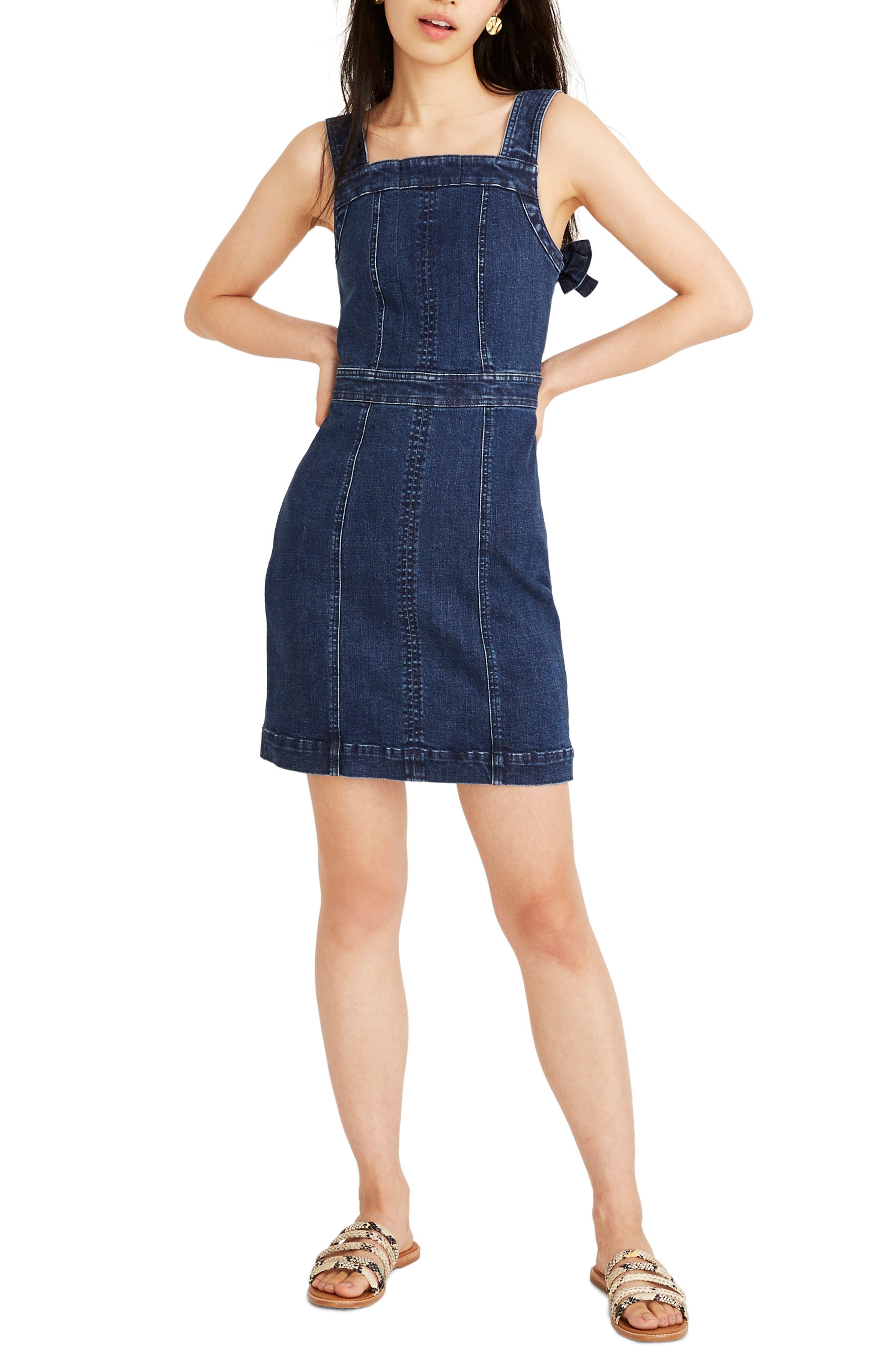 Madewell Denim Apron Bow Back Dress, Blue