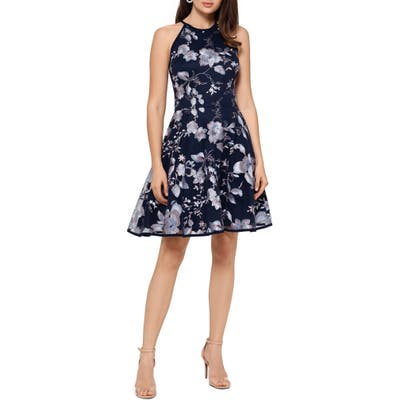 Xscape Embroidered Cocktail Dress, Blue