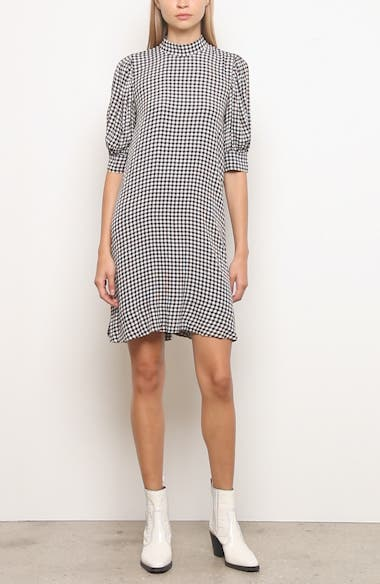 Gingham Print Crepe Dress, video thumbnail