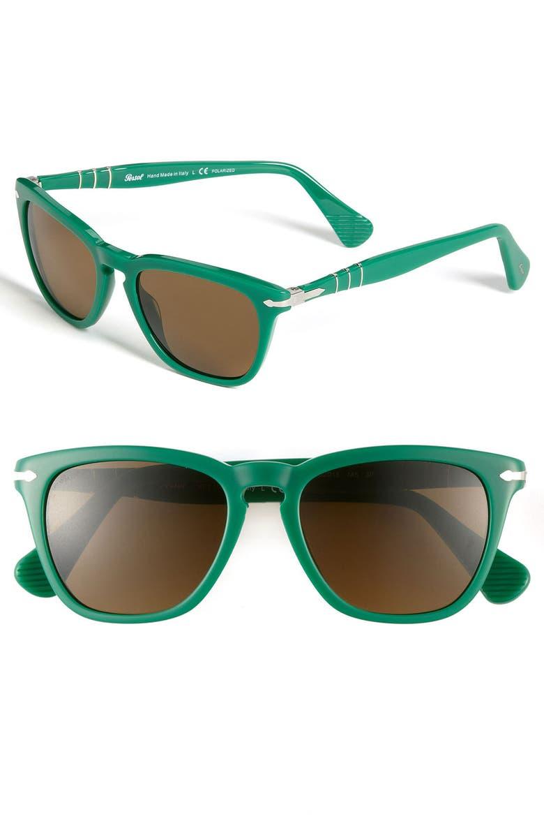 PERSOL 52mm Polarized Retro Sunglasses, Main, color, GREEN/ POLARIZED