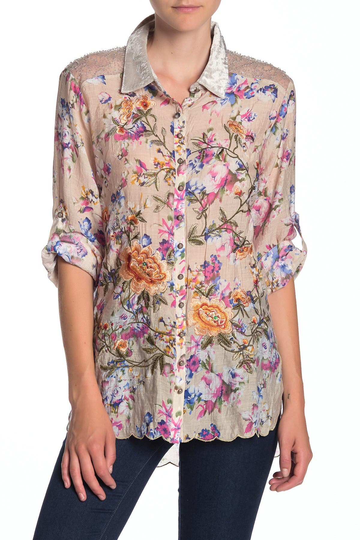 Image of ARATTA Princess Charlotte Front Button Floral Embroidered Shirt
