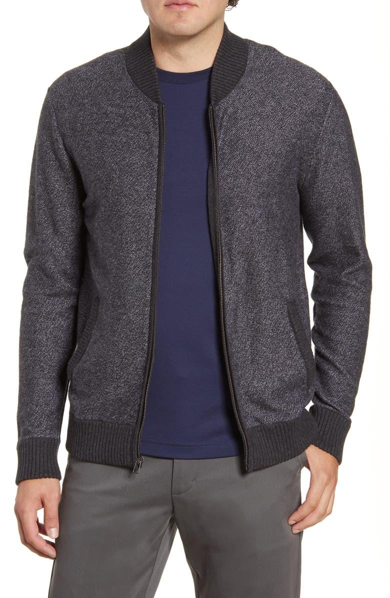 BONOBOS Cotton & Cashmere Bomber Sweater, Main, color, CHARCOAL