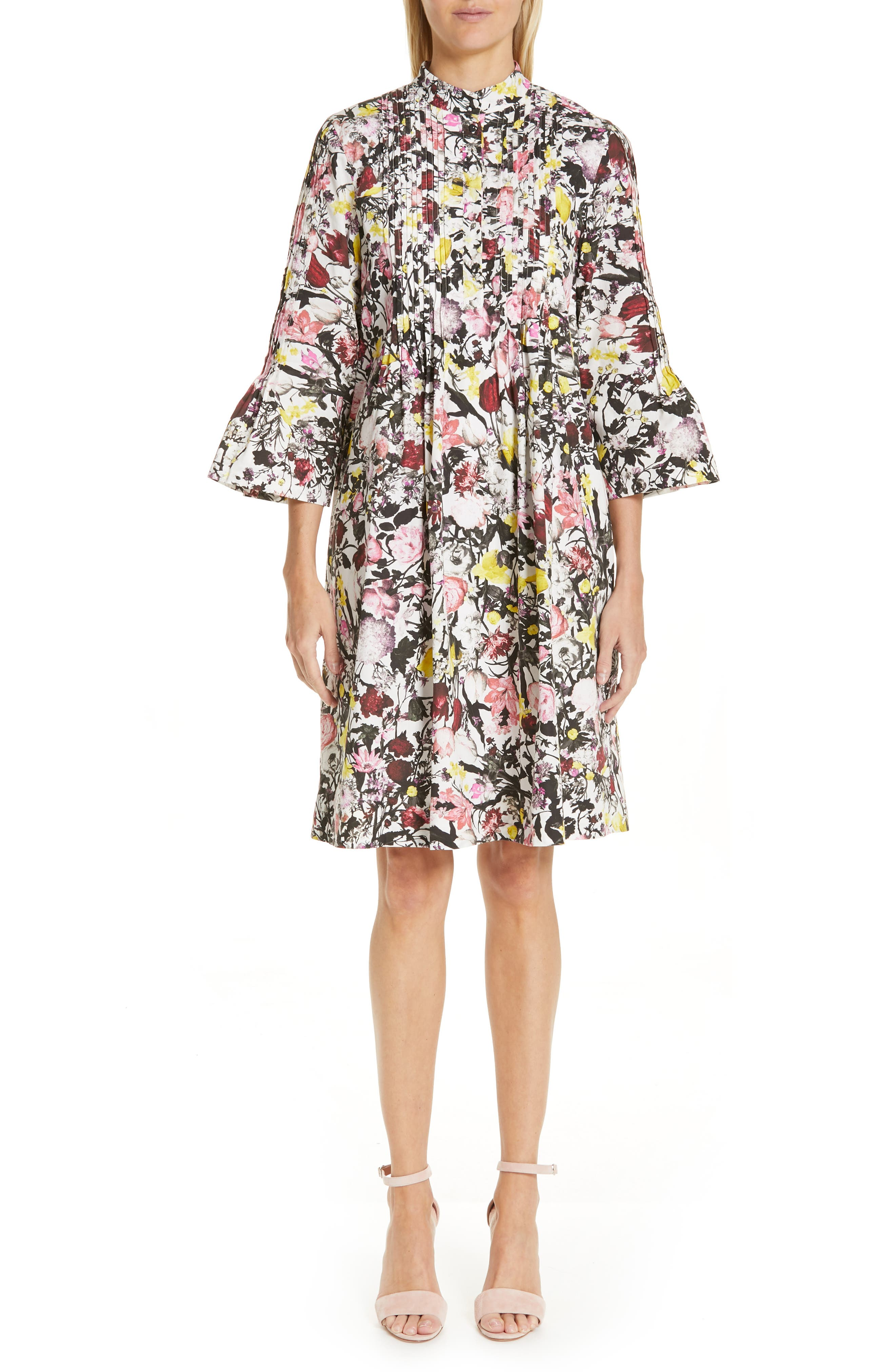 Erdem Pop Floral Print Cotton Dress, US / 12 UK - White
