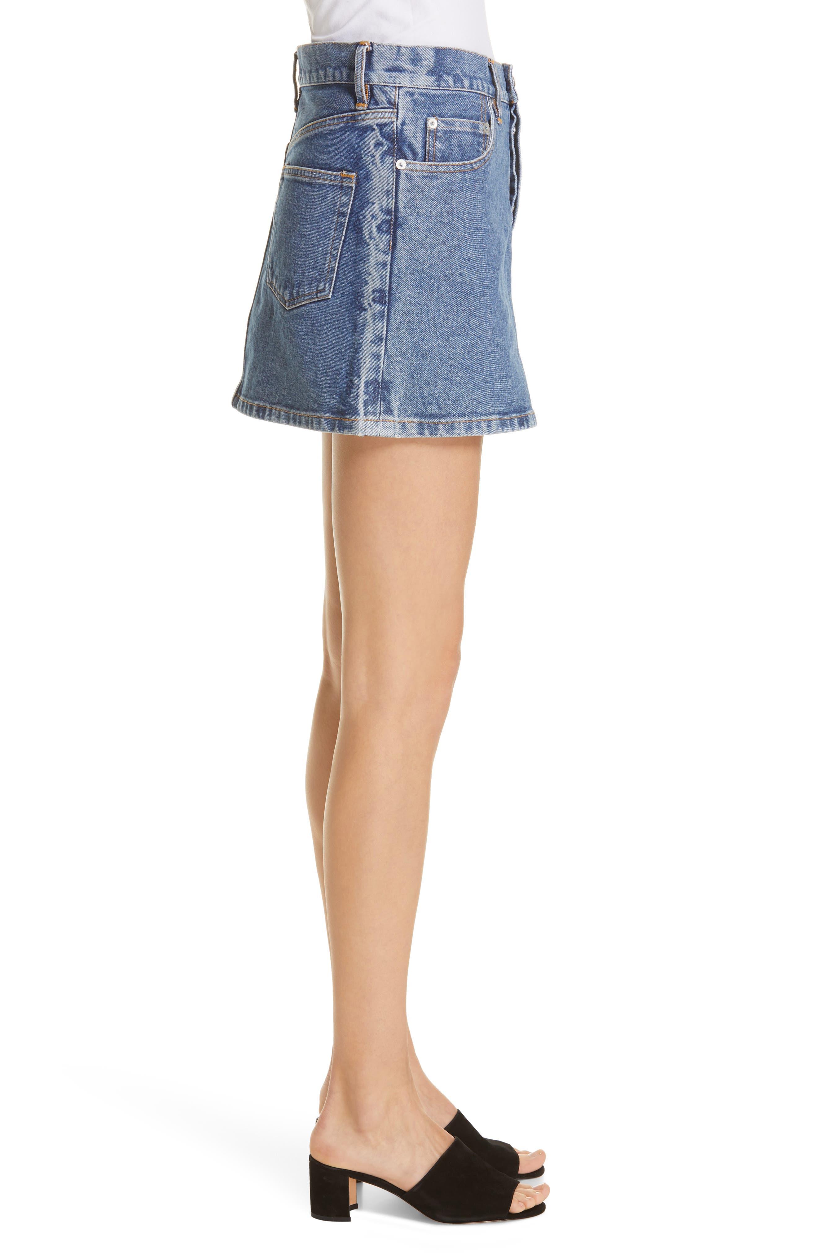 ,                             Denim Miniskirt,                             Alternate thumbnail 3, color,                             VINTAGE WASH 4