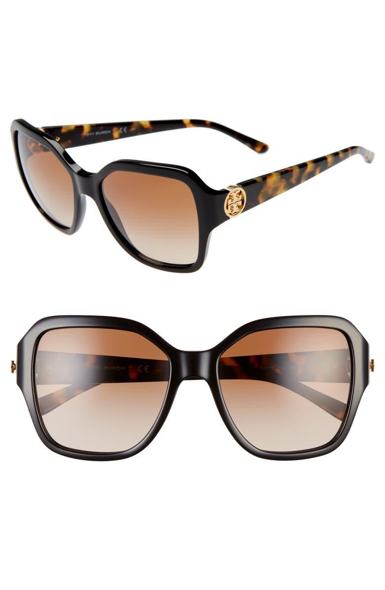 TORY BURCH Reva 56mm Square Sunglasses, Main, color, 005