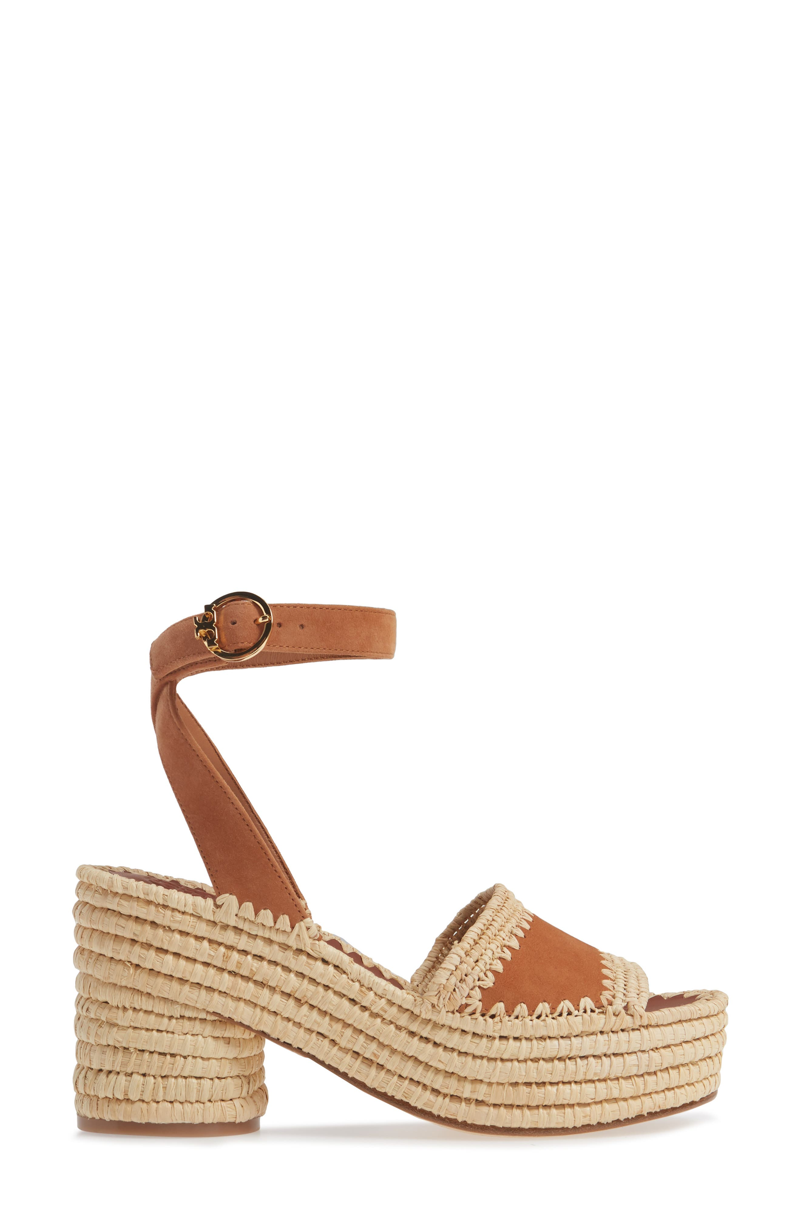 ,                             Arianne Platform Ankle Strap Sandal,                             Alternate thumbnail 3, color,                             TAN