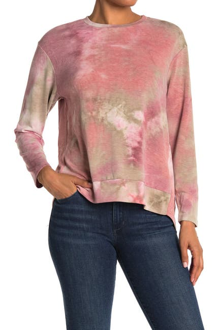 Image of WHITE WILLOW Tie-Dye Long Sleeve Hi-Lo Pullover