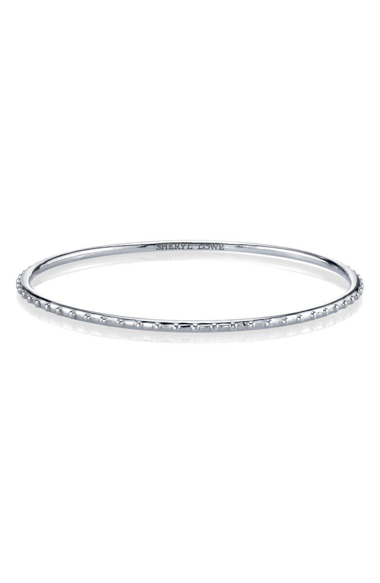 SHERYL LOWE Beaded Sterling Silver Bangle Bracelet, Main, color, STERLING SILVER