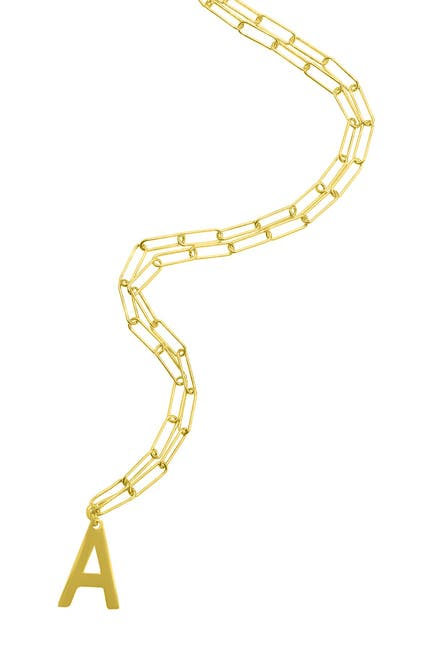 Image of ADORNIA 14K Gold Vermeil Paperclip Chain Initial Necklace
