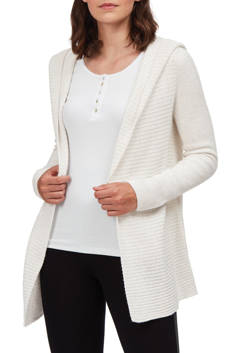 THE WHITE COMPANY Textured Hooded Open Cardigan, Main, color, 020