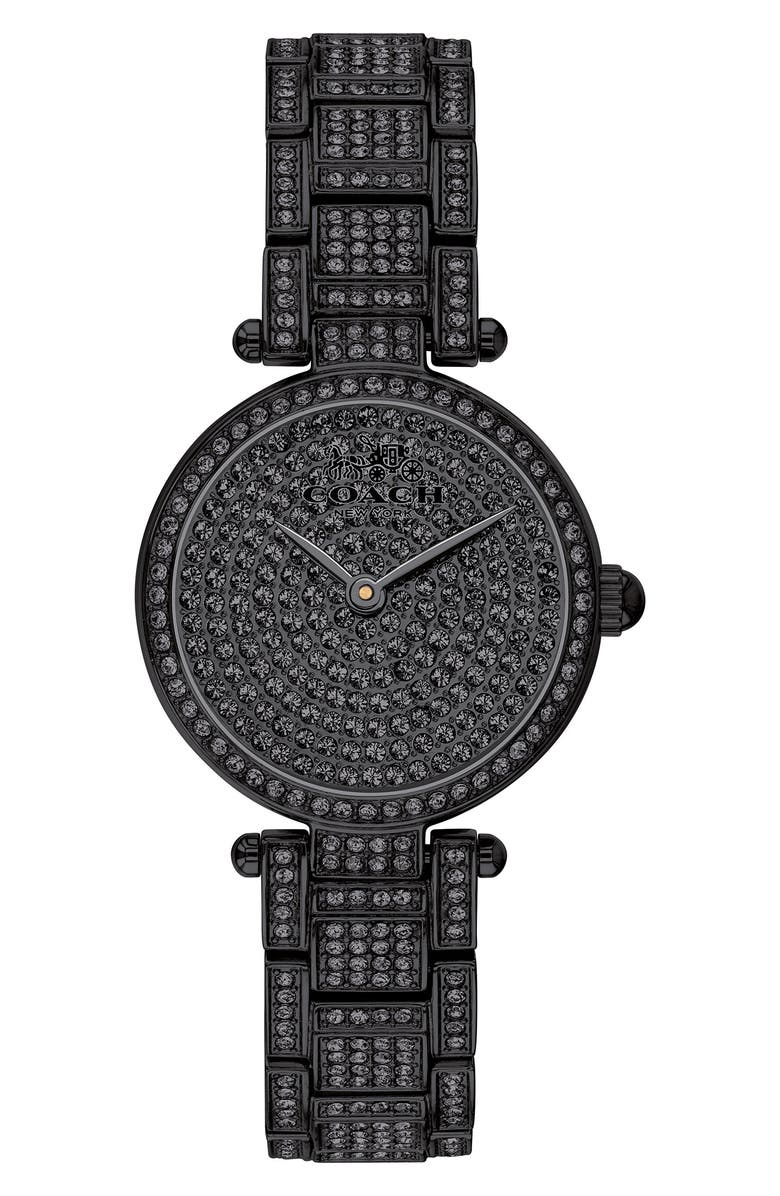 COACH Park Crystal Embellished Bracelet Watch, 26mm, Main, color, 001