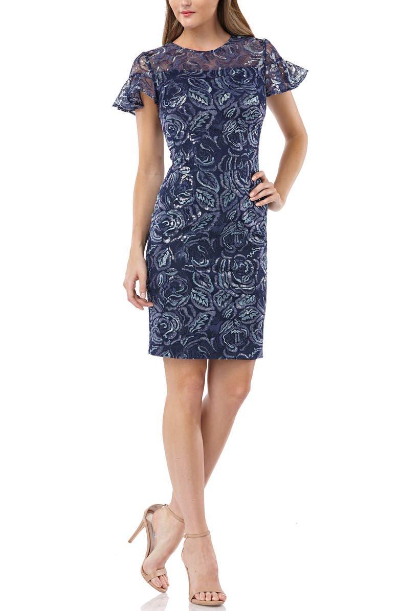 CARMEN MARC VALVO INFUSION Sequin Embroidered Cocktail Dress, Main, color, NAVY