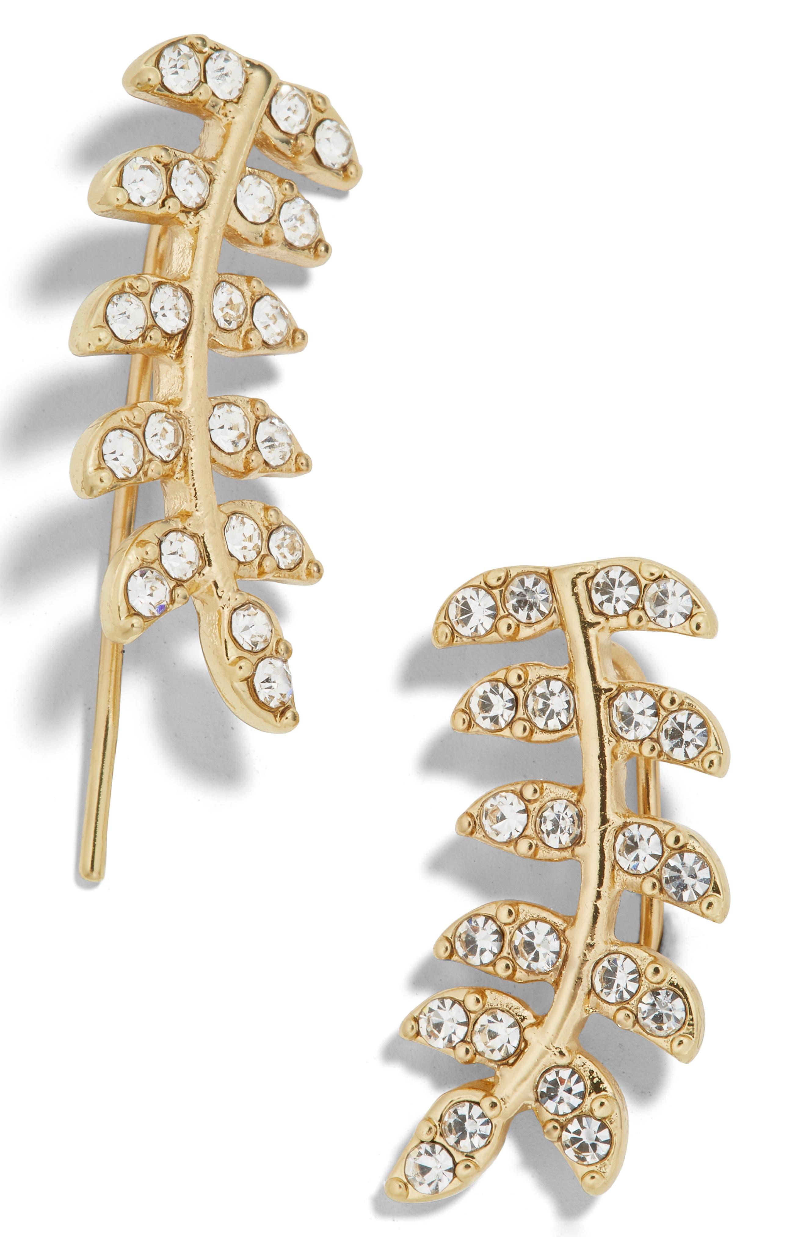 Vaniya Crystal Leaf Drop Earrings, Main, color, GOLD