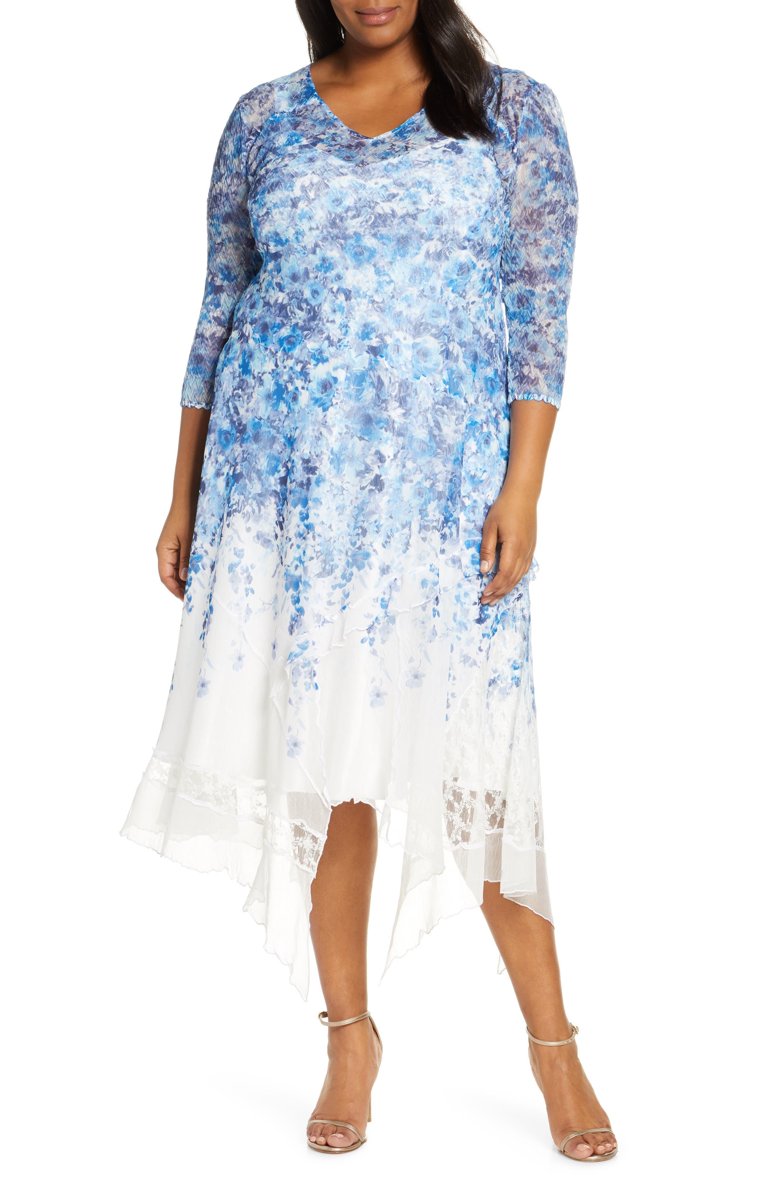Plus Size Komarov Watercolor Print Chiffon Handkerchief Hem Dress, Blue