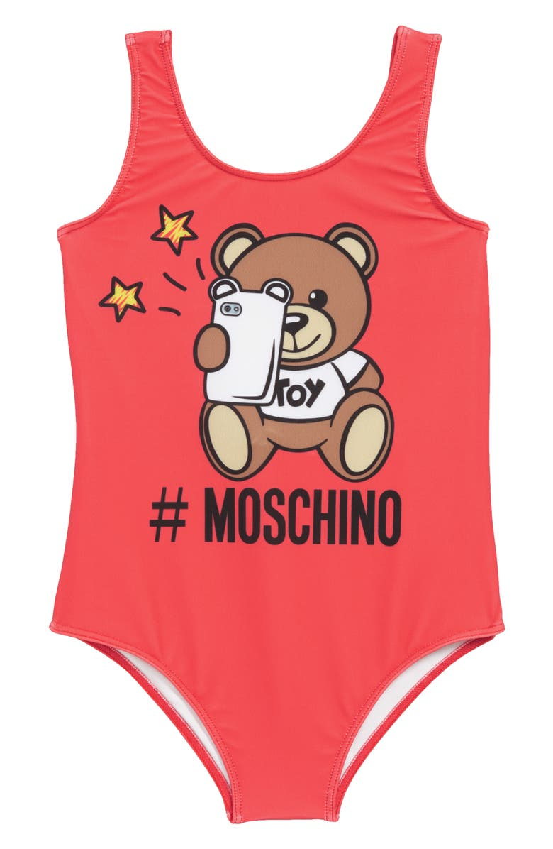 3cd6e604a705c5 Moschino Bear Logo Graphic One-Piece Swimsuit (Big Girls) | Nordstrom