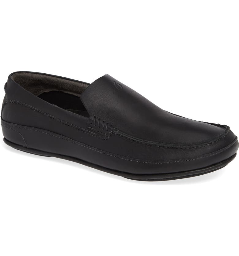 OLUKAI Kulana Slip-On, Main, color, BLACK/ BLACK LEATHER