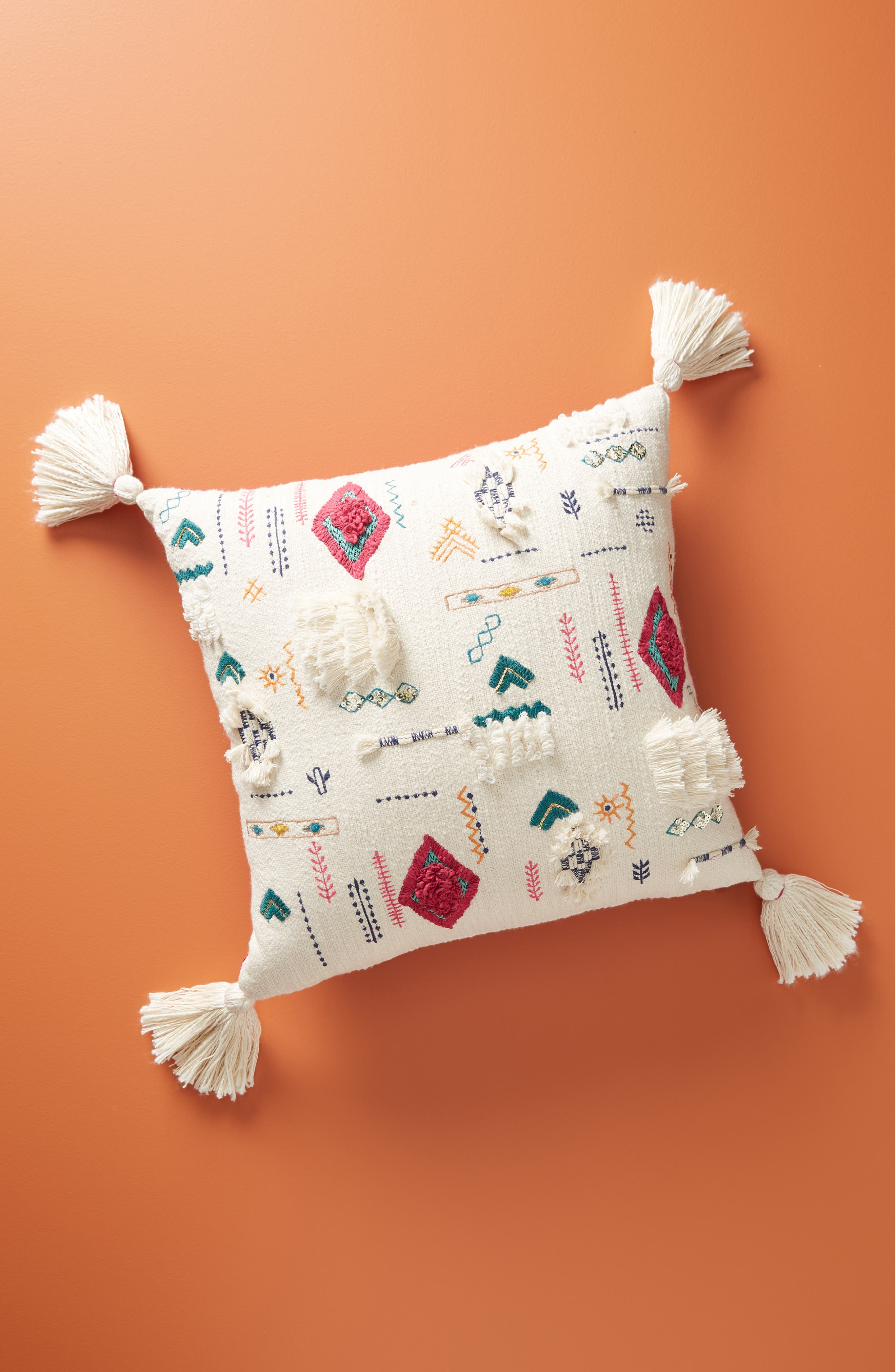 anthropologie bindra embroidered tassel accent pillow