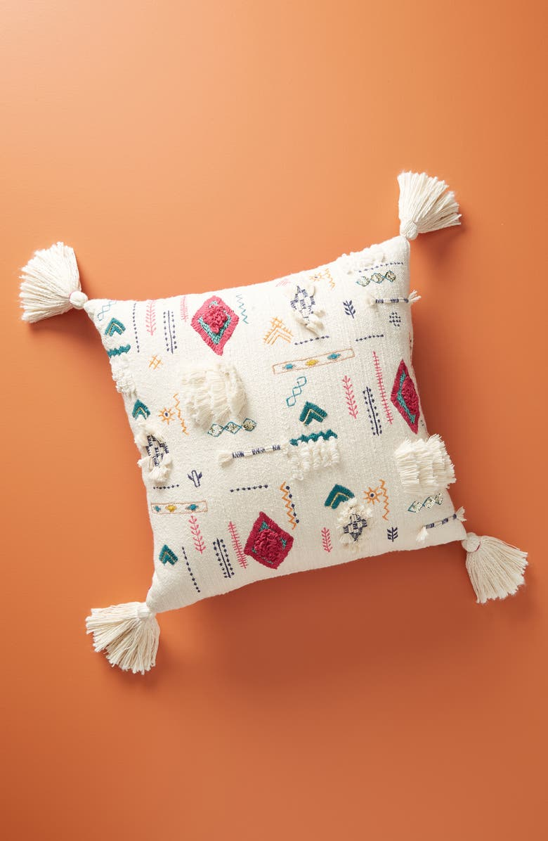 ANTHROPOLOGIE Bindra Embroidered Tassel Accent Pillow, Main, color, 900