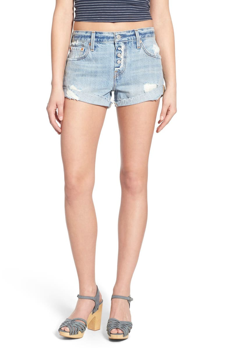 LEVI'S<SUP>®</SUP> '501<sup>®</sup> Customized' Distressed Rolled Denim Shorts, Main, color, 401
