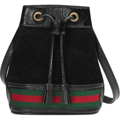Gucci Mini Suede & Leather Bucket Bag - Black