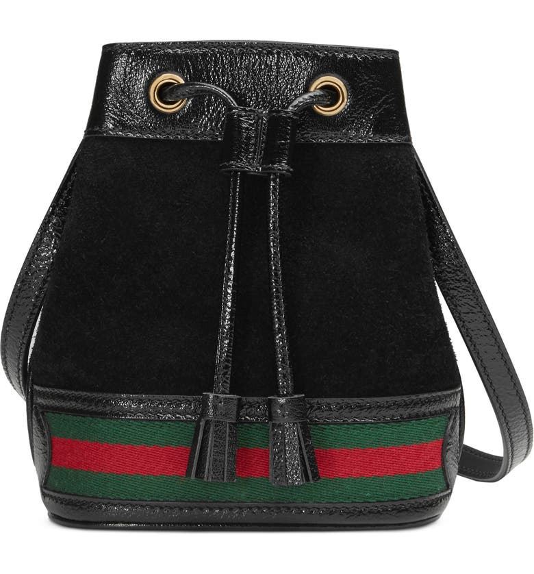 GUCCI Mini Ophidia Suede & Leather Bucket Bag, Main, color, NERO/ VERT/ RED