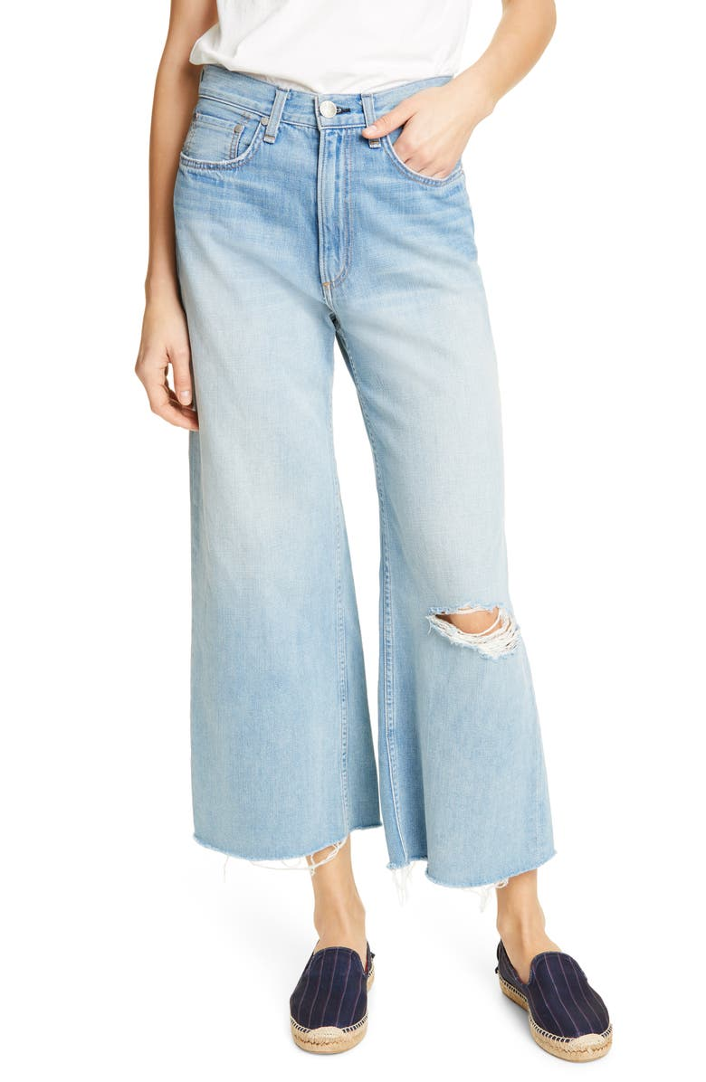RAG & BONE Ruth Ripped Super High Waist Ankle Wide Leg Jeans, Main, color, 420