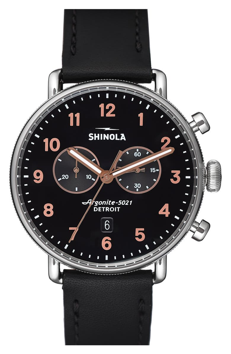 SHINOLA The Canfield Chrono Leather Strap Watch, 43mm, Main, color, BLACK/ ROSE GOLD/ SILVER