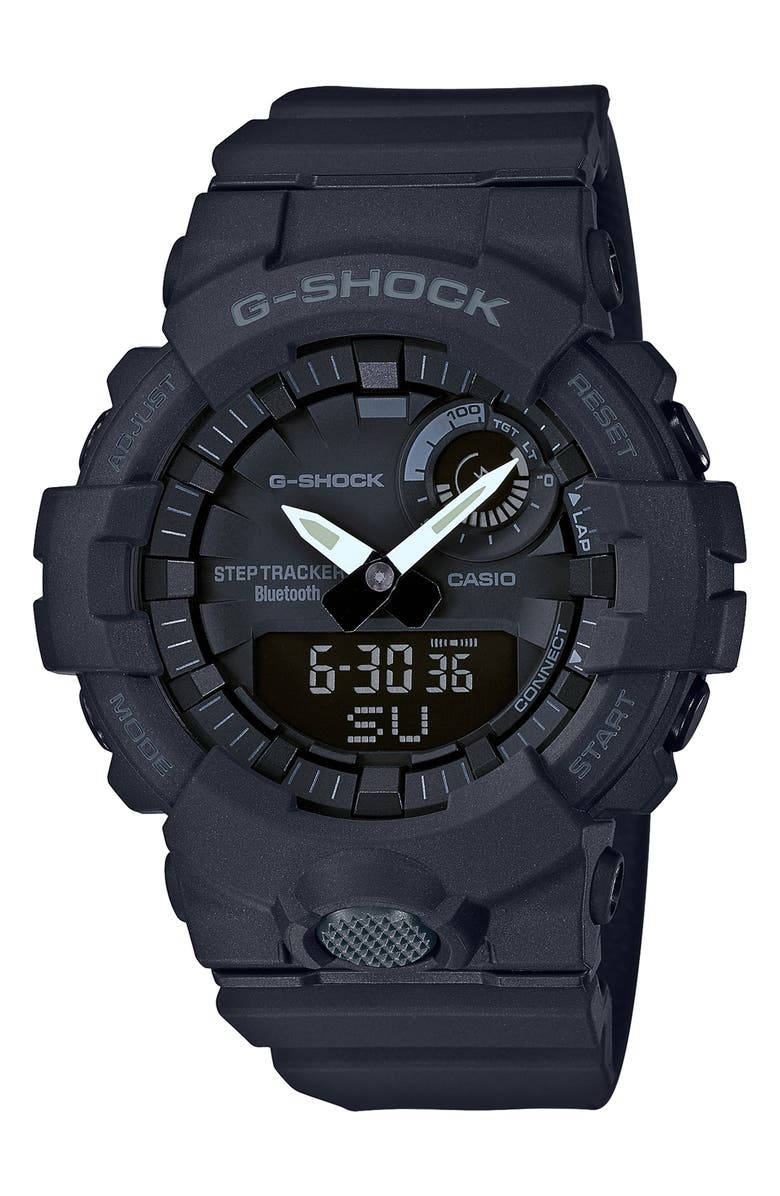 G-SHOCK BABY-G G-Shock Steptracker Bluetooth<sup>®</sup> Enabled Resin Strap Watch, 49mm, Main, color, BLACK