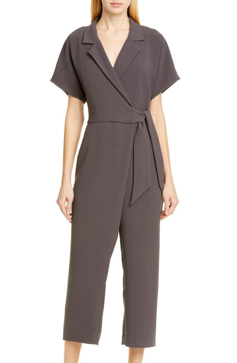BROCHU WALKER Sheyla Tie Waist Wrap Jumpsuit, Main, color, OTTER