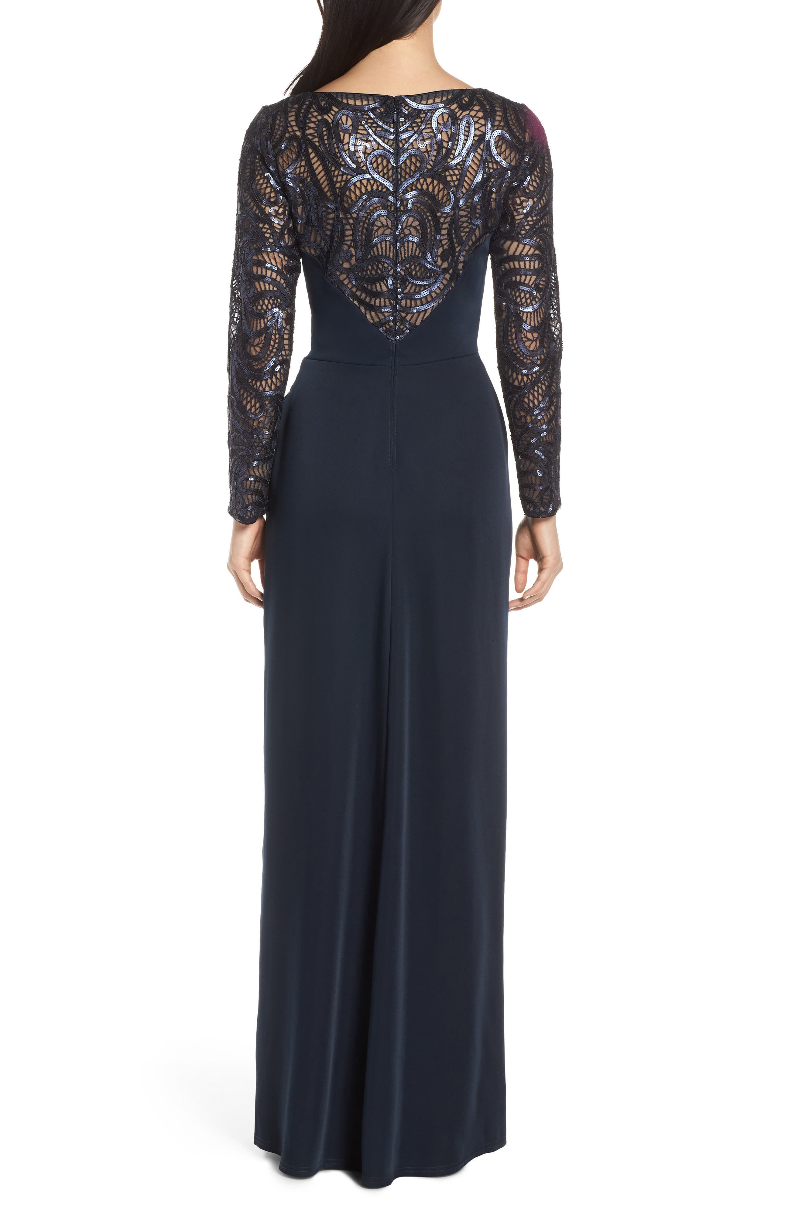 ,                             Sequin Lace & Jersey Evening Dress,                             Alternate thumbnail 2, color,                             NAVY/ NUDE