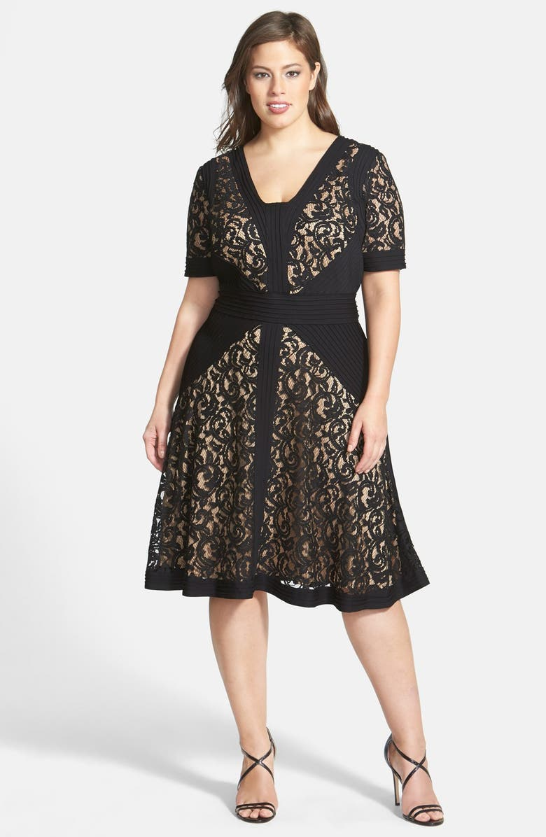 Jersey Pleat Lace Fit & Flare Dress
