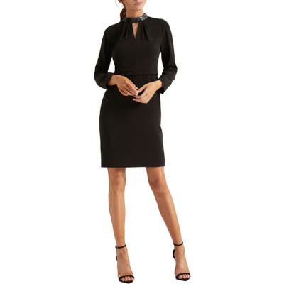 Halston Heritage Embellished Long Sleeve Cocktail Dress, Black