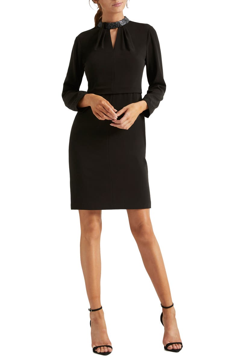 HALSTON HERITAGE Embellished Long Sleeve Cocktail Dress, Main, color, BLACK