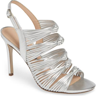 Charles David Crest Knotted Slingback Sandal, Metallic