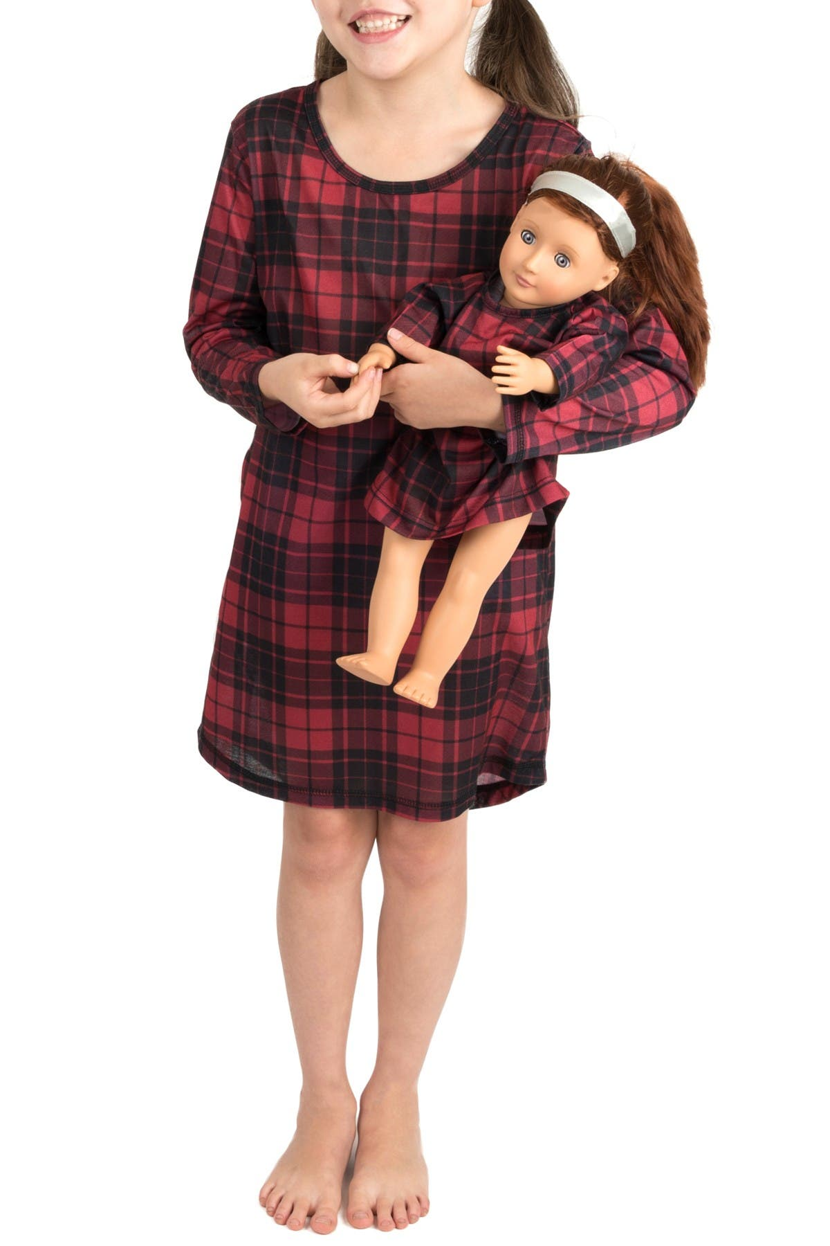 Image of Leveret Plaid Nightgown & Matching Doll Nightgown