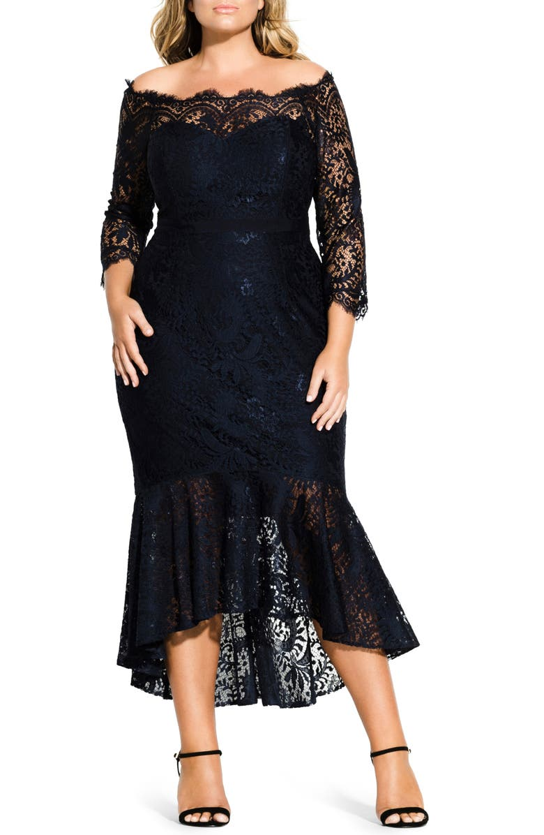 CITY CHIC Estella Off the Shoulder Dress, Main, color, FRENCH NAVY