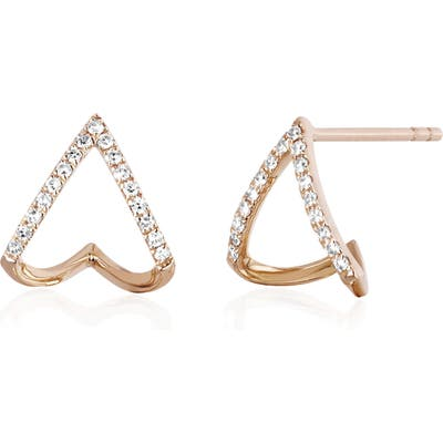 Ef Collection Diamond Chevron Huggie Earrings