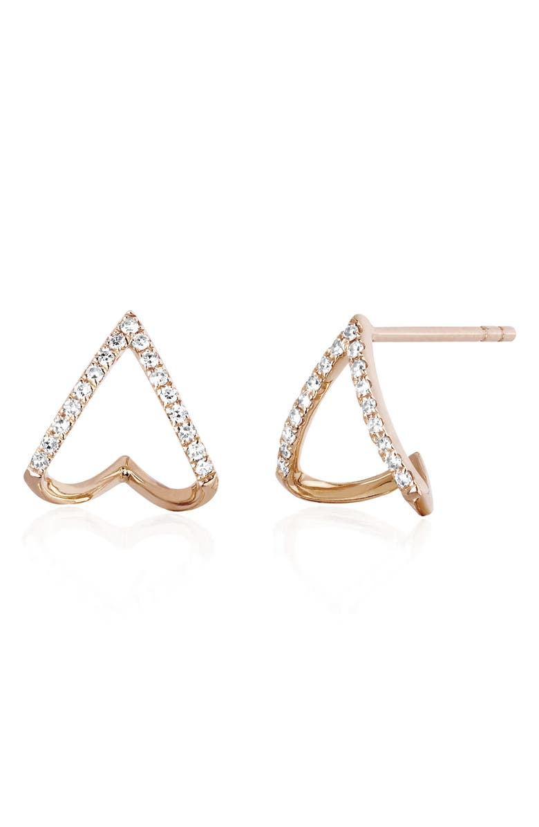 EF COLLECTION Diamond Chevron Huggie Earrings, Main, color, ROSE GOLD/ DIAMOND