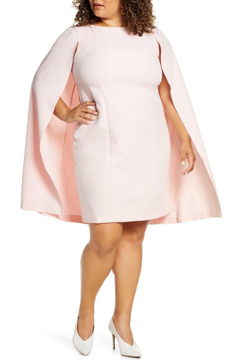 ELOQUII Cape Dress, Main, color, HONEYSUCKLE PINK
