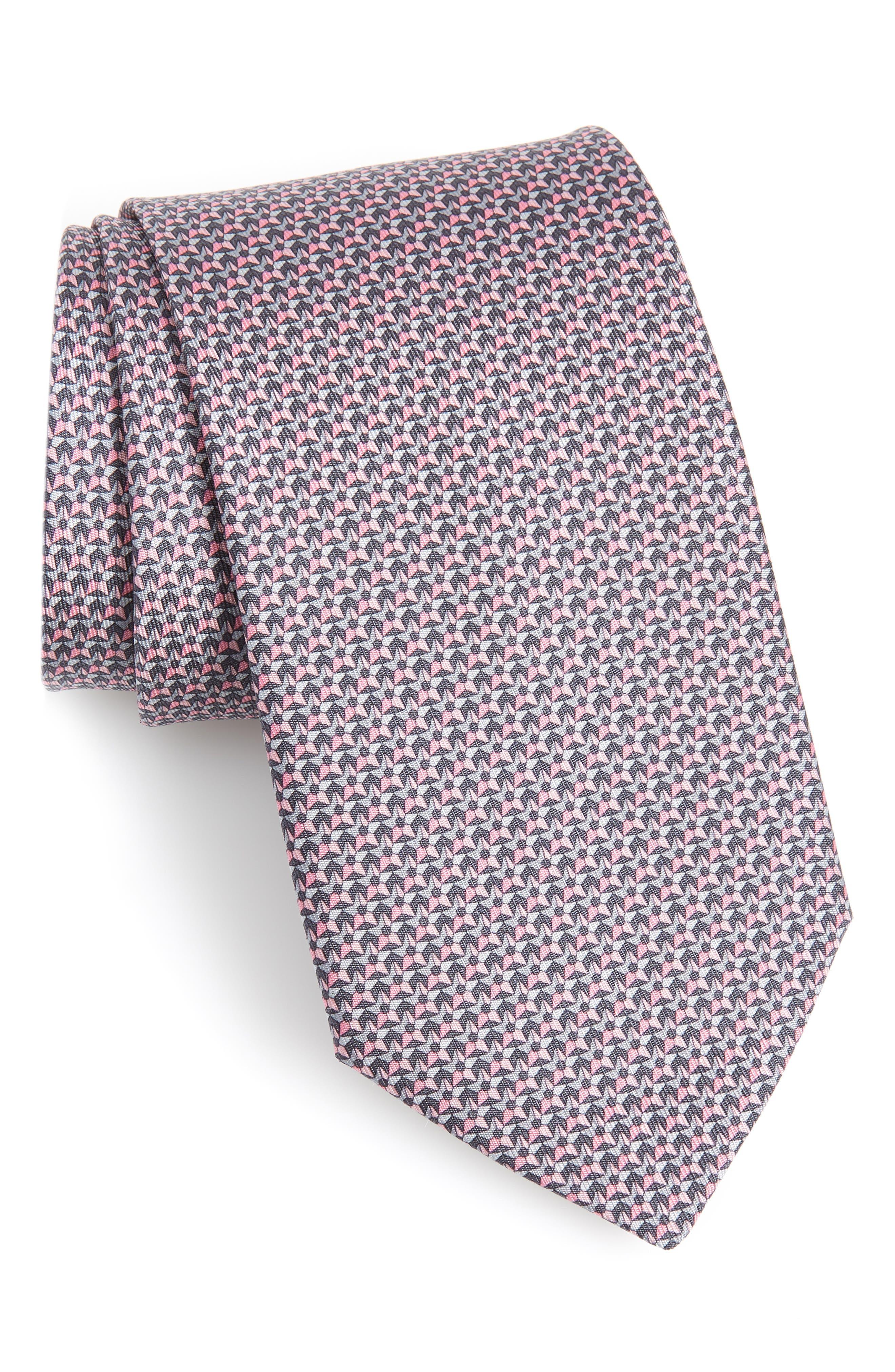 Star Print Silk Tie, Main, color, FUMO