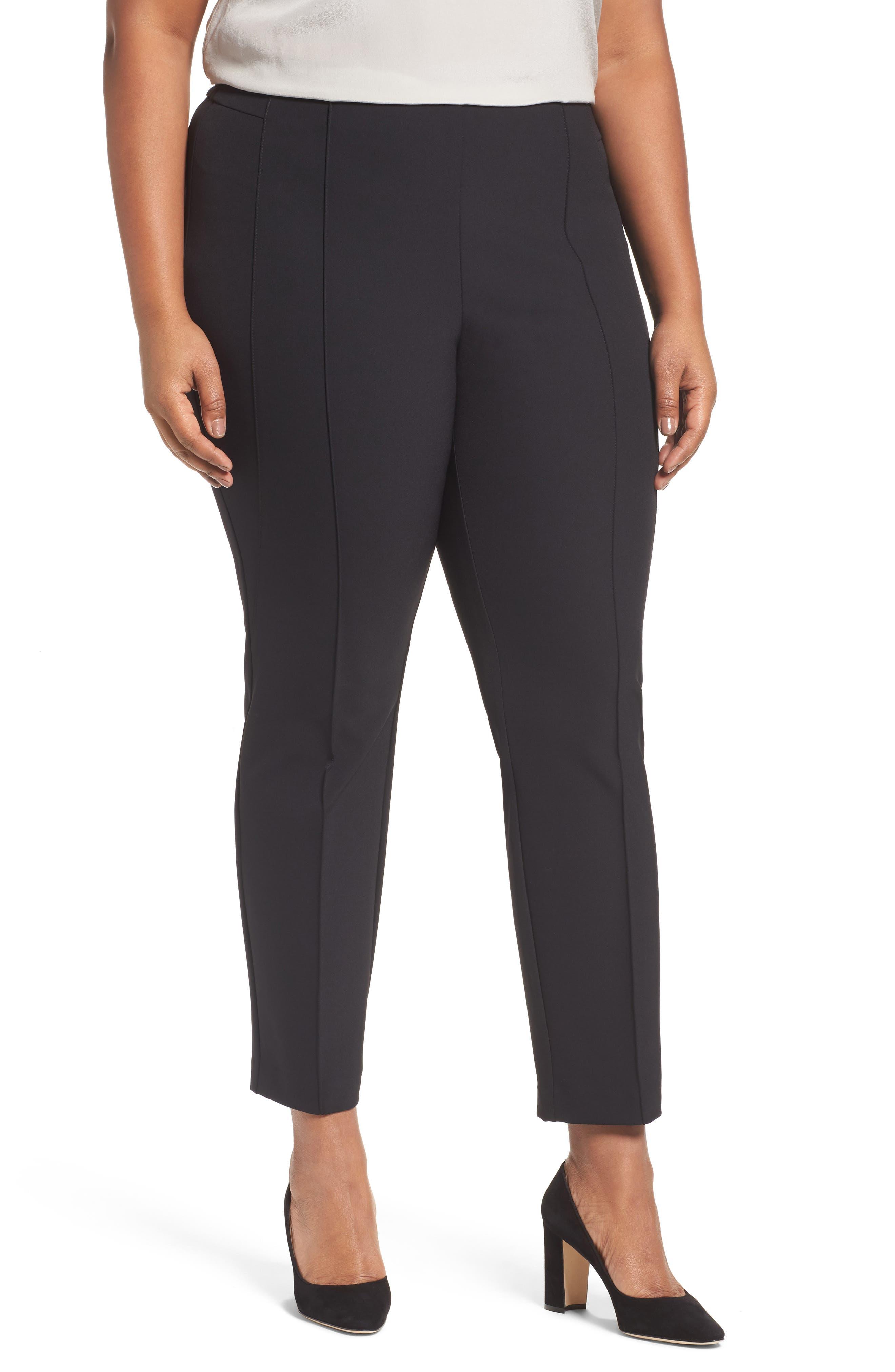 Plus  Women's Lafayette 148 New York Acclaimed Gramercy Stretch Pants,  18W - Black