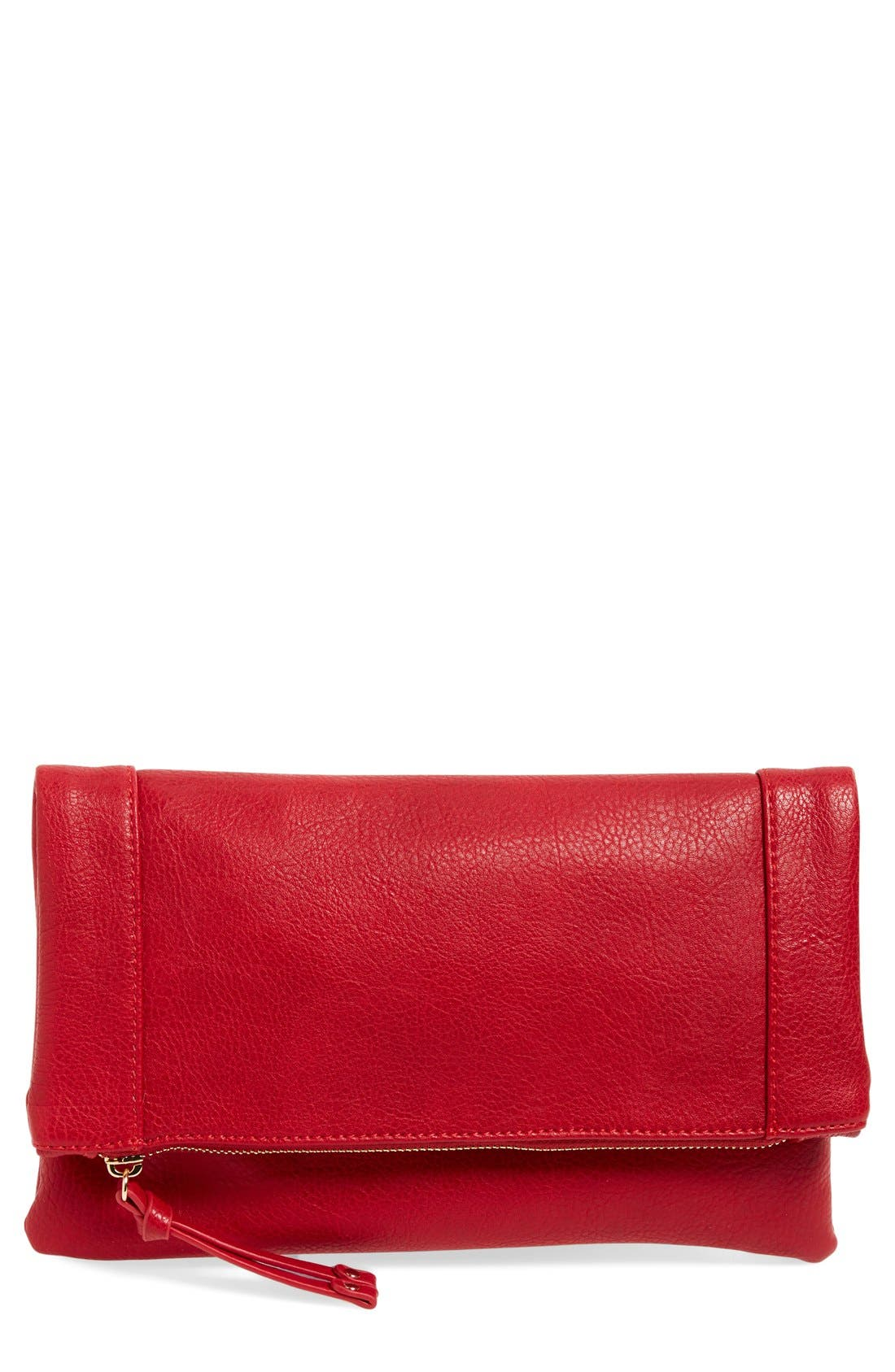 ,                             Marlena Faux Leather Foldover Clutch,                             Main thumbnail 71, color,                             600