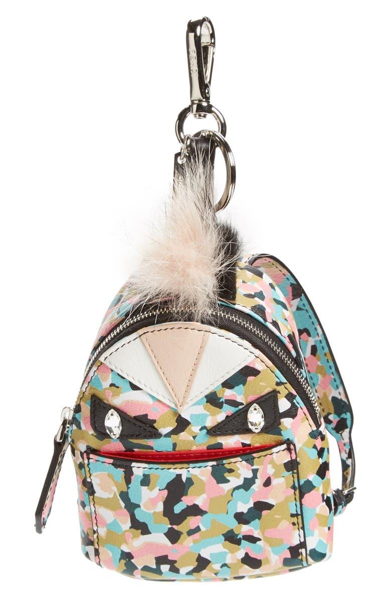 FENDI 'Granite' Genuine Fox & Nutria Fur Trim Backpack Bag Charm, Main, color, SAPHIRE