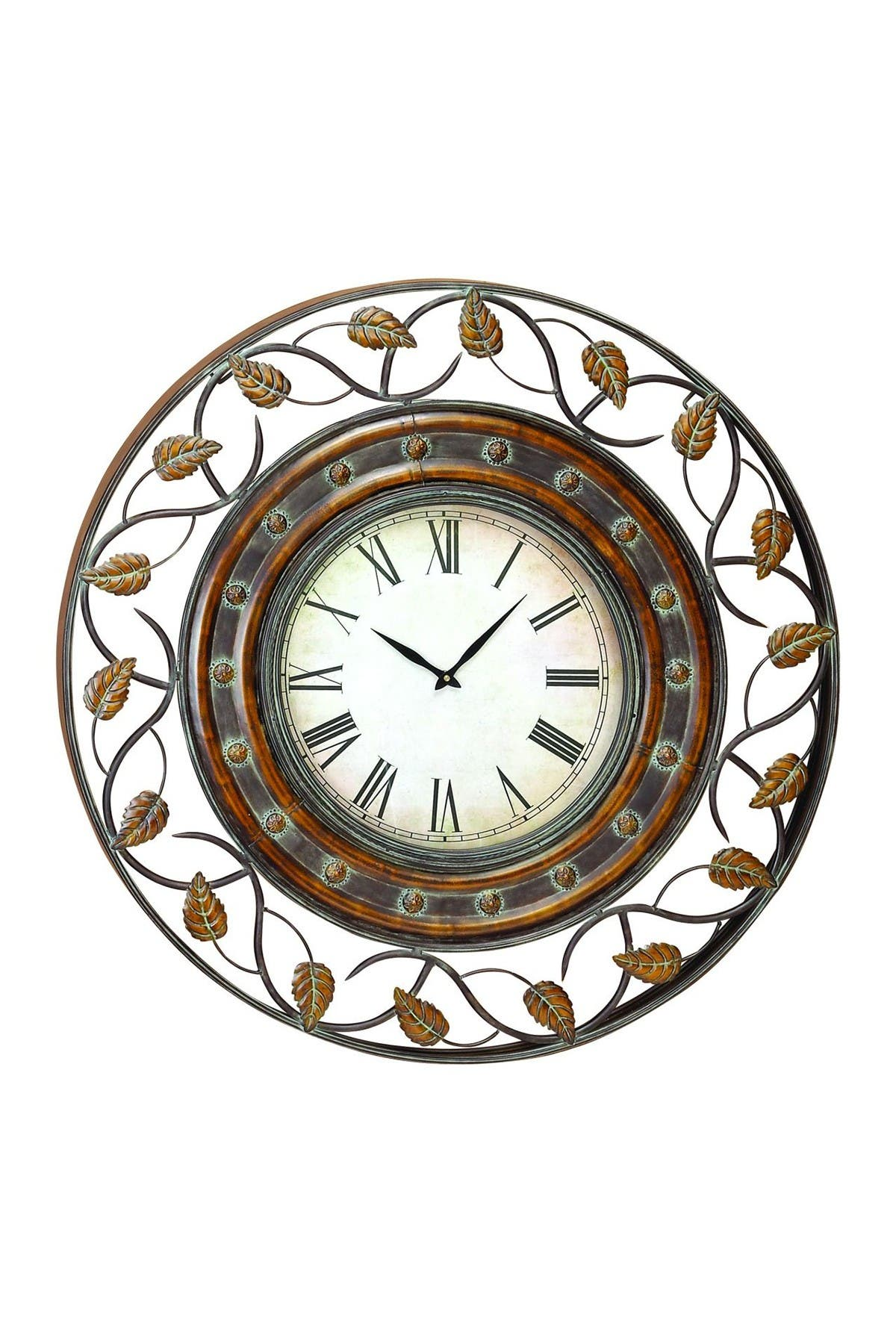 Image of Willow Row Metal Leaf Wall Clock