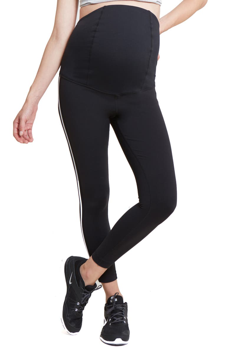 INGRID & ISABEL<SUP>®</SUP> 7/8 Tuxedo Maternity Leggings, Main, color, BLACK