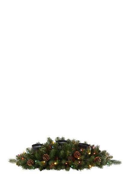 """Image of NEARLY NATURAL 30"""" Flocked & Glittered Light-Up Artificial Christmas Triple Candelabrum"""
